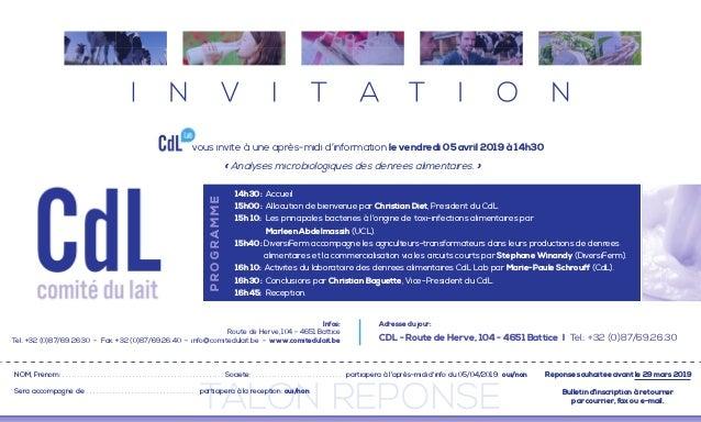TALON REPONSE vous invite à une après-midi d'information le vendredi 05 avril 2019 à 14h30 NOM, Prénom: . . . . . . . . . ...