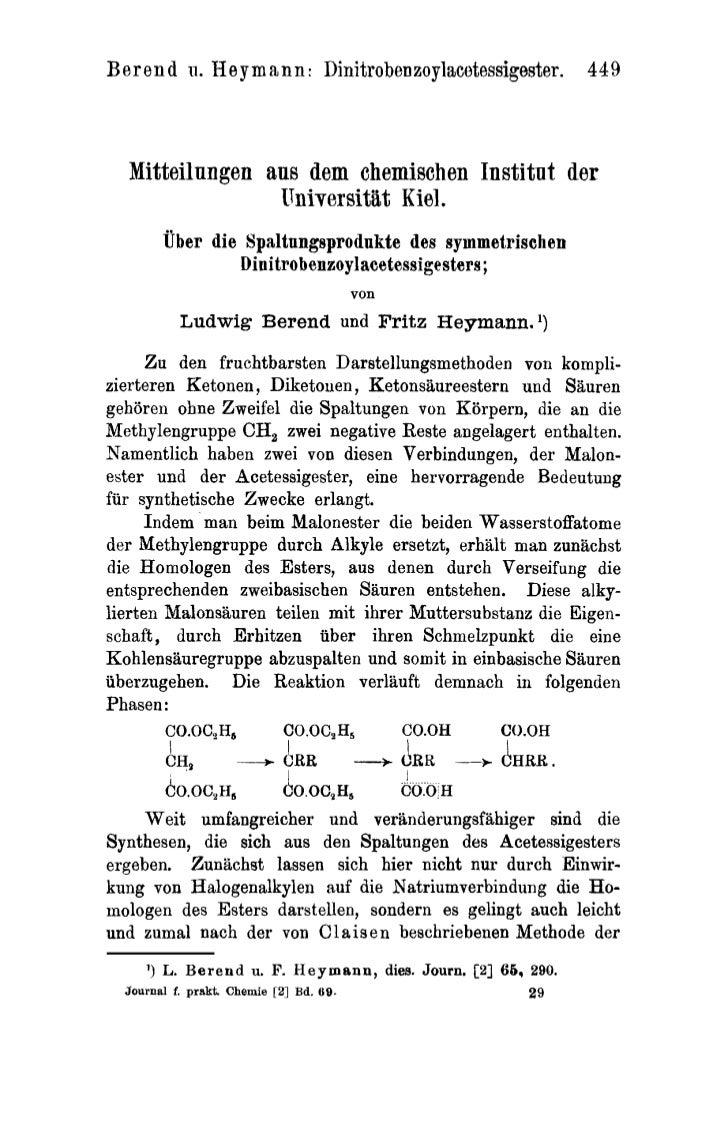 B er en d    1.              1   Hey m a n n : Dinitrobenzoylacetessigester. 449  Mitteilnngen aus dem chemischen Institnt...