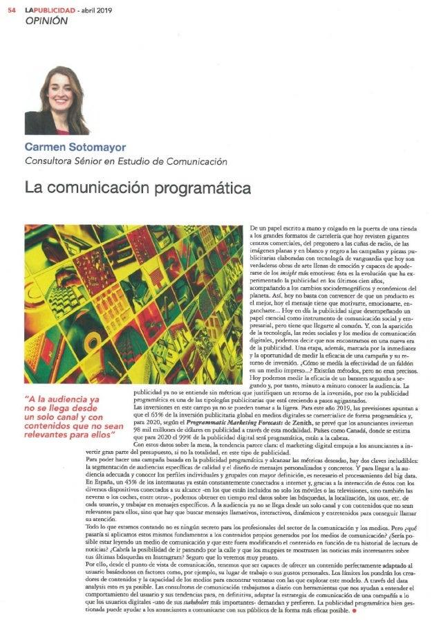La comunicación programática- Carmen Sotomayor en La Publicidad
