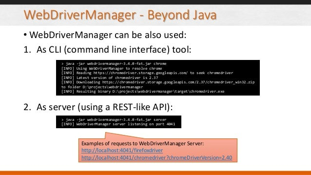 Toolbox for Selenium Tests in Java: WebDriverManager and