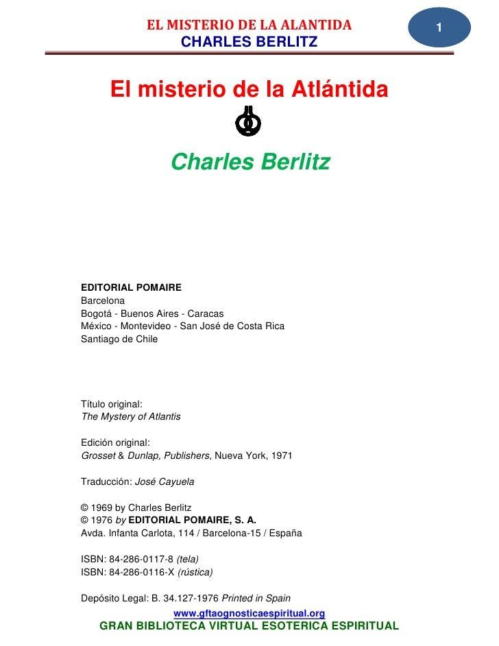 EL MISTERIO DE LA ALANTIDA              1                   CHARLES BERLITZ      El misterio de la Atlántida              ...