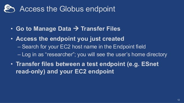 Access the Globus endpoint • Go to Manage Data à Transfer Files • Access the endpoint you just created – Search for your E...