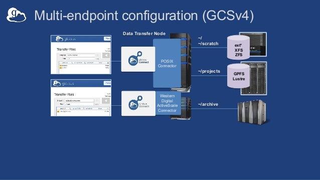 ext* XFS ZFS GPFS Lustre ~/projects Multi-endpoint configuration (GCSv4) Data Transfer Node POSIX Connector Western Digita...