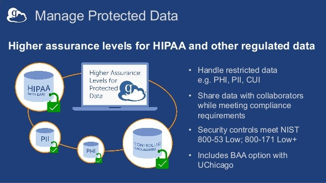 Manage Protected Data 2 Higher assurance levels for HIPAA and other regulated data • Handle restricted data e.g. PHI, PII,...