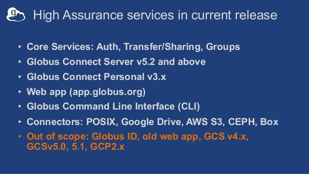 High Assurance services in current release • Core Services: Auth, Transfer/Sharing, Groups • Globus Connect Server v5.2 an...