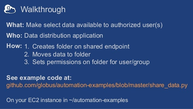 Walkthrough What: Make select data available to authorized user(s) Who: Data distribution application How: See example cod...