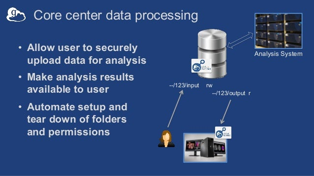 Core center data processing • Allow user to securely upload data for analysis • Make analysis results available to user • ...