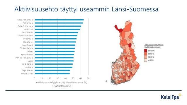 Aktiivisuusehto täyttyi useammin Länsi-Suomessa 0 10 20 30 40 50 60 70 Pohjois-Savo Päijät-Häme Uusimaa Etelä-Karjala Lapp...