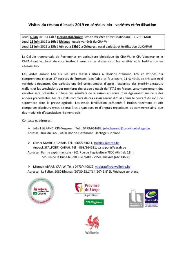 Visites du réseau d'essais 2019 en céréales bio - variétés et fertilisation Jeudi 6 juin 2019 à 14h à Horion-Hozémont : es...
