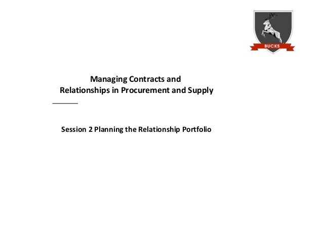 Managing Contracts andRelationships in Procurement and SupplySession 2 Planning the Relationship Portfolio