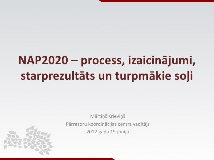 NAP2020 – process, izaicinājumi,starprezultāts un turpmākie soļi                   Mārtiņš Krieviņš        Pārresoru koord...