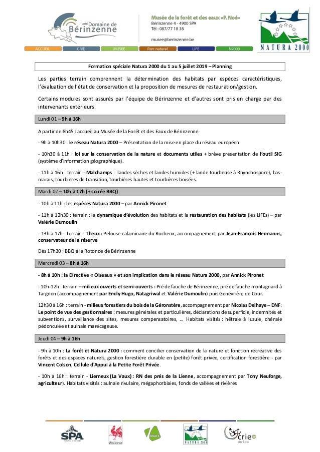 Formation spéciale Natura 2000 du 1 au 5 juillet 2019 – Planning Les parties terrain comprennent la détermination des habi...