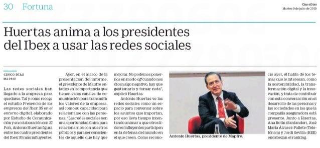 Huertas anima a los presidentes del ibex a usar las redes sociales