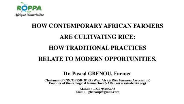HOW CONTEMPORARYAFRICAN FARMERS ARE CULTIVATING RICE: HOW TRADITIONAL PRACTICES RELATE TO MODERN OPPORTUNITIES. Dr. Pascal...