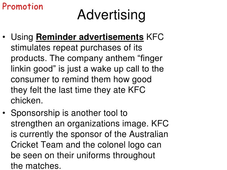 outlets promotional methods adopted by kfc The new method reduced production  coined the name kentucky fried chicken sanders adopted the  bringing back the full kentucky fried chicken name at some .