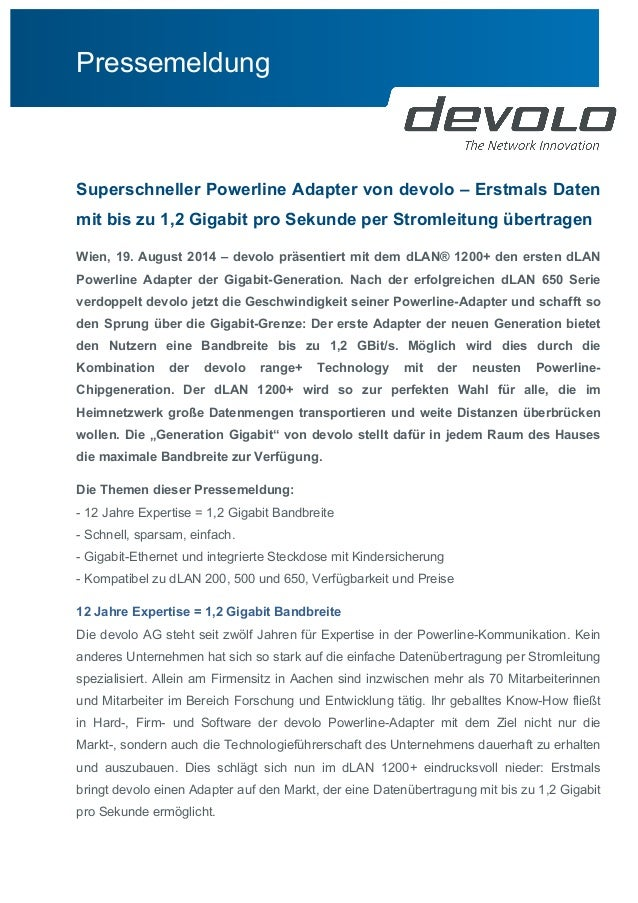 Pressemeldung  Superschneller Powerline Adapter von devolo – Erstmals Daten  mit bis zu 1,2 Gigabit pro Sekunde per Stroml...