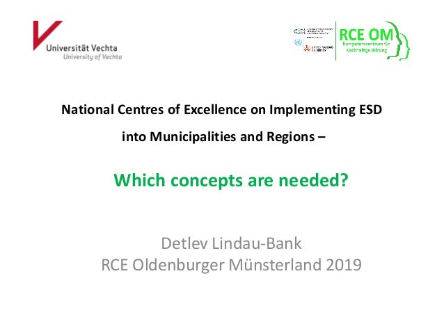 National Centres of Excellence on Implementing ESD into Municipalities and Regions – Which concepts are needed? Detlev Lin...
