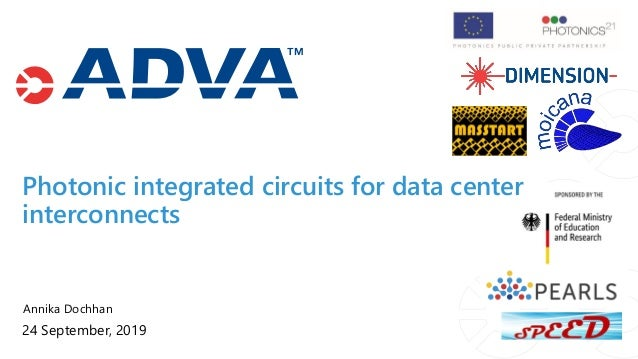Annika Dochhan 24 September, 2019 Photonic integrated circuits for data center interconnects