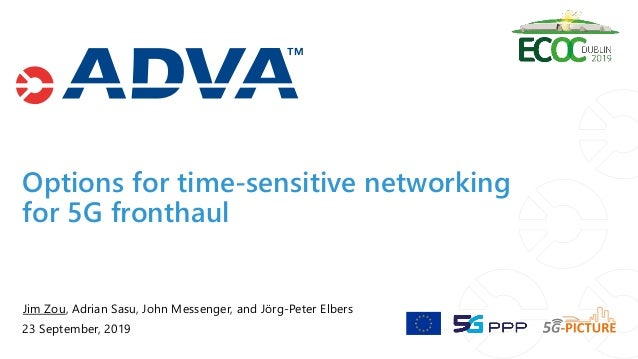 Options for time-sensitive networking for 5G fronthaul Jim Zou, Adrian Sasu, John Messenger, and Jörg-Peter Elbers 23 Sept...