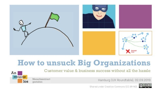How to unsuck Big Organizations Hamburg (UX Roundtable), 02.09.2019 Customer value & business success without all the hass...
