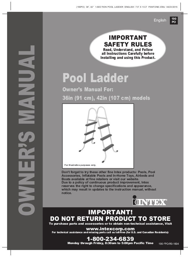 36 Inch Swimming Pool Ladder Manual