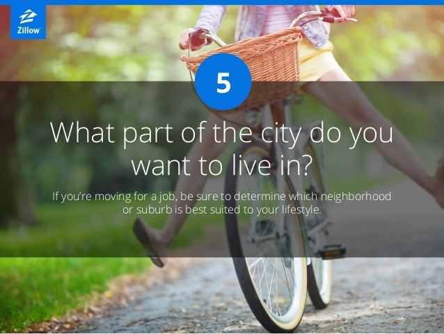 What part of the city do you want to live in? If you're moving for a job, be sure to determine which neighborhood or subur...