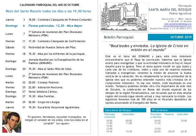 """""""Bautizados y enviados. La Iglesia de Cristo en misión en el mundo"""" Parroquia SANTA MARÍA DEL BOSQUE Padres Agustinos Manu..."""