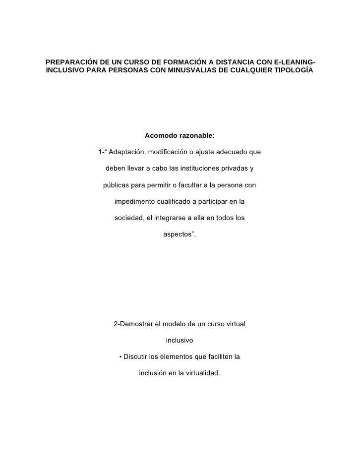 PREPARACIÓN DE UN CURSO DE FORMACIÓN A DISTANCIA CON E-LEANING- INCLUSIVO PARA PERSONAS CON MINUSVALIAS DE CUALQUIER TIPOL...