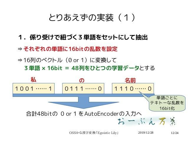 2019/12/28OSSかな漢字変換『Egoistic Lily』 12/24 とりあえずの実装(1) 1.係り受けで紐づく3単語をセットにして抽出 ⇛それぞれの単語に16bitの乱数を設定 ⇛16列のベクトル(0 or 1)に変換して  3...