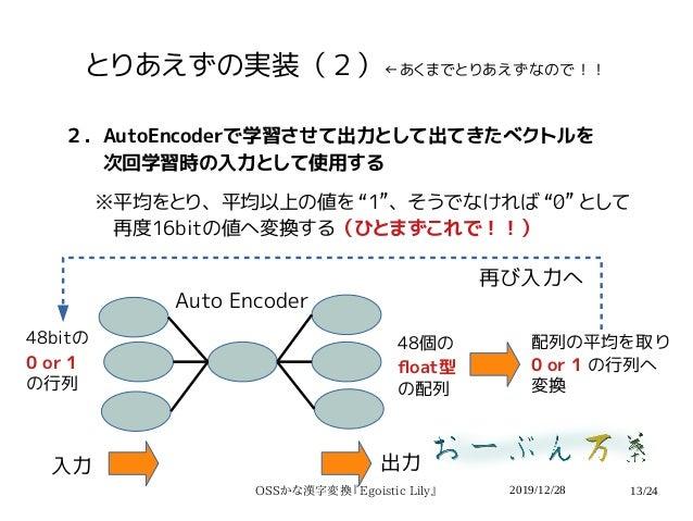 2019/12/28OSSかな漢字変換『Egoistic Lily』 13/24 とりあえずの実装(2)←あくまでとりあえずなので!! 2.AutoEncoderで学習させて出力として出てきたベクトルを   次回学習時の入力として使用する ※平...
