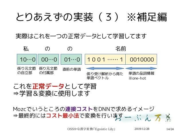 2019/12/28OSSかな漢字変換『Egoistic Lily』 14/24 とりあえずの実装(3) ※補足編 実際はこれを一つの正常データとして学習してます 01…000…010…0 1 0 0 1 …… 1 0010000 係り受け解析...