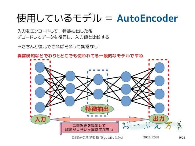 2019/12/28OSSかな漢字変換『Egoistic Lily』 9/24 使用しているモデル = AutoEncoder 入力をエンコードして、特徴抽出した後 デコードしてデータを復元し、入力値と比較する ⇛きちんと復元できればそれって異...