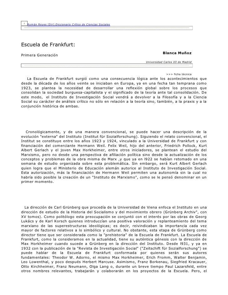 Román Reyes (Dir):Diccionario Crítico de Ciencias Sociales     Escuela de Frankfurt:                                      ...