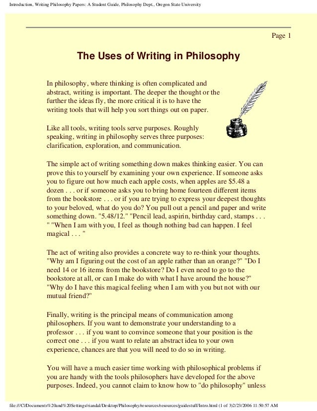 i need help writing a philosophy paper