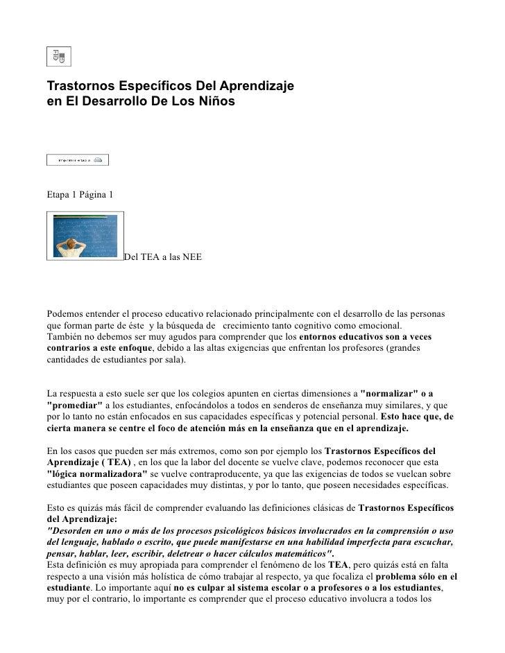 Trastornos Específicos Del Aprendizaje en El Desarrollo De Los Niños     Etapa 1 Página 1                        Del TEA a...