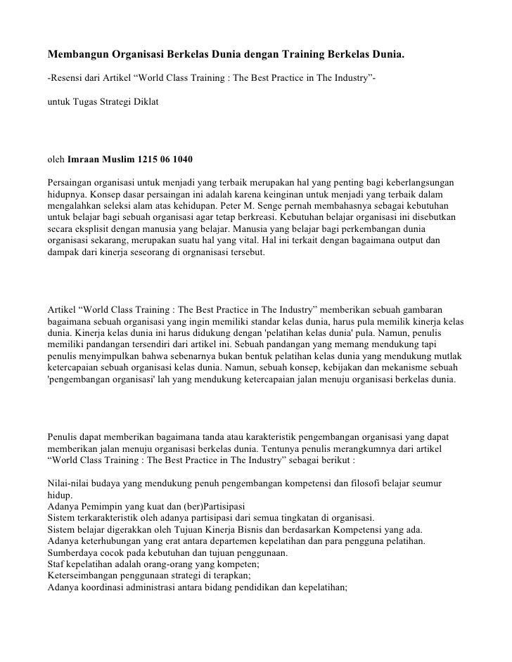 "Membangun Organisasi Berkelas Dunia dengan Training Berkelas Dunia.  -Resensi dari Artikel ""World Class Training : The Bes..."
