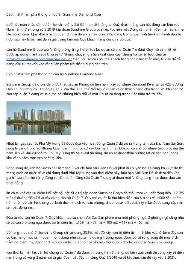 Cập nhật Khám phá thông tin dự án Sunshine Diamond River dưới lúc màn chào sân dự án Sunshine City Sài Gòn ra mắt thắng lợ...
