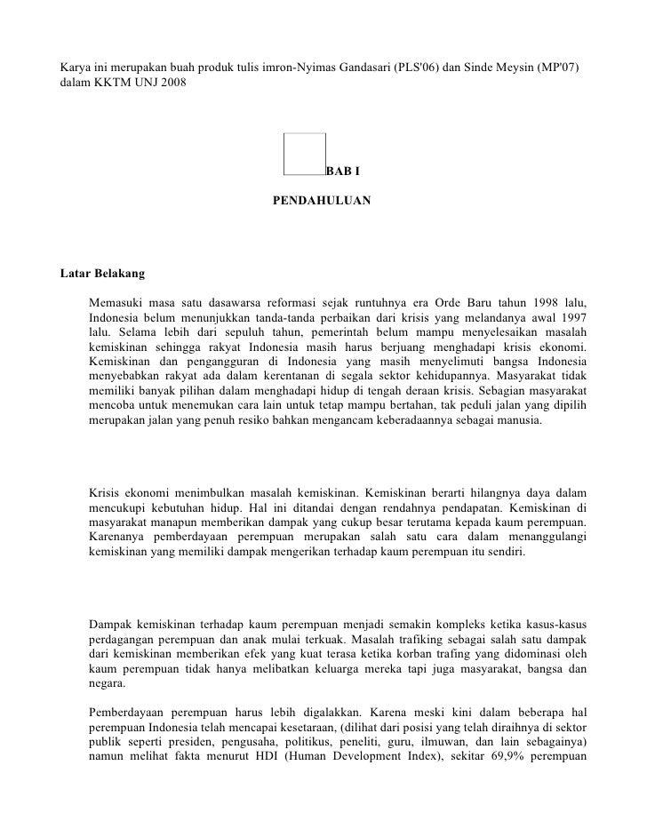 Karya ini merupakan buah produk tulis imron-Nyimas Gandasari (PLS'06) dan Sinde Meysin (MP'07) dalam KKTM UNJ 2008        ...