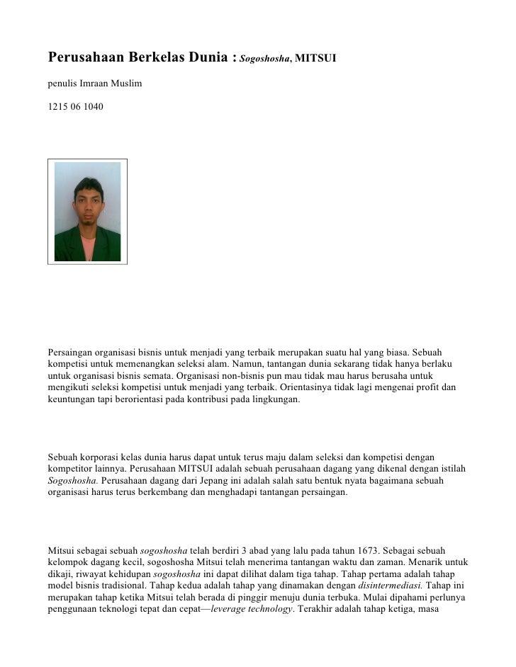 Perusahaan Berkelas Dunia : Sogoshosha, MITSUI penulis Imraan Muslim  1215 06 1040     Persaingan organisasi bisnis untuk ...