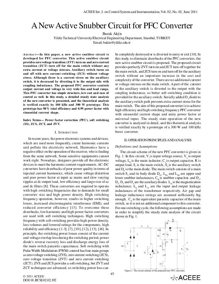 ACEEE Int. J. on Control System and Instrumentation, Vol. 02, No. 02, June 2011      A New Active Snubber Circuit for PFC ...