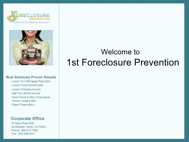 1st Foreclosure Prevention Welcome to
