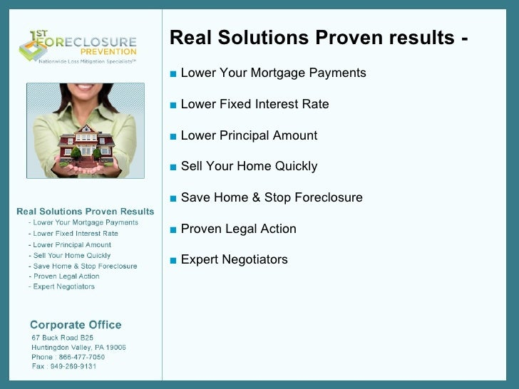 1st Foreclosure Prevention - Nationwide Loss Mitigation