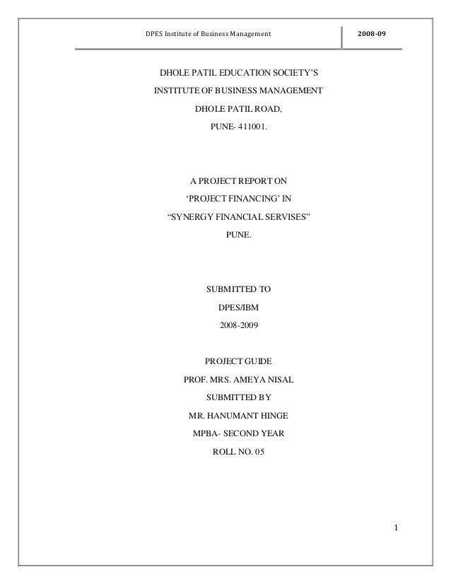 DPES Institute of Business Management 2008-09 1 DHOLE PATIL EDUCATION SOCIETY'S INSTITUTE OF BUSINESS MANAGEMENT DHOLE PAT...