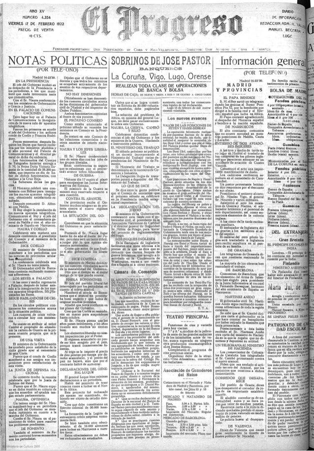 ANO XV NUMERO 4.354  VIERNES i1 DE FEBKERO 1922  PREGO DE VENTH ID CTS.   FUNDADON ' PROPIETAIQII l:   &QTAS POLITICAS i S...