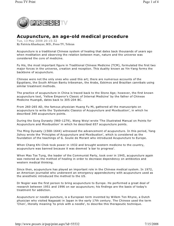 Press TV Print                                                                           Page 1 of 4      Acupuncture, an ...