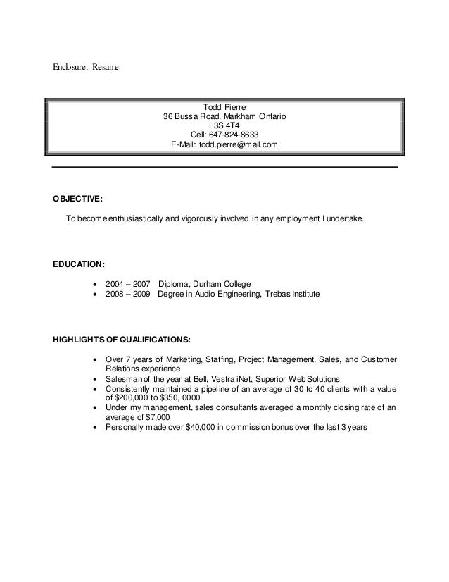 i enclosed my resume for your review contact
