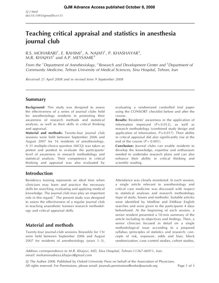 QJM Advance Access published October 8, 2008 Q J Med doi:10.1093/qjmed/hcn131     Teaching critical appraisal and statisti...