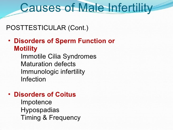 Immotile sperm causes
