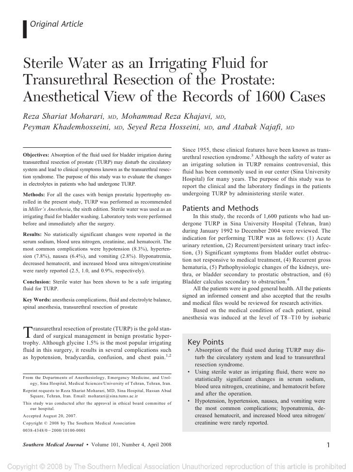 Original Article    Sterile Water as an Irrigating Fluid for Transurethral Resection of the Prostate: Anesthetical View of...