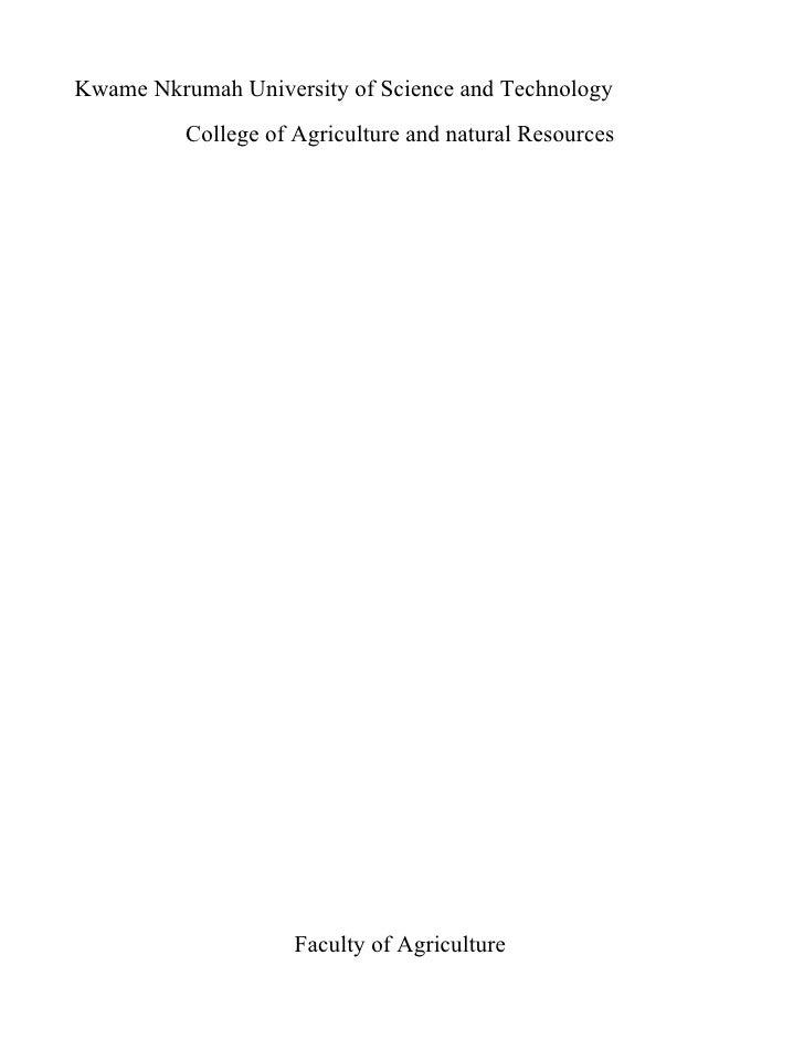 Kwame Nkrumah University of Science and Technology           College of Agriculture and natural Resources                 ...